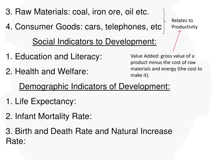 3. Raw Materials: coal, iron ore, oil etc.