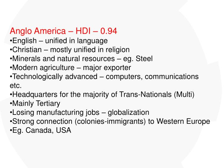 Anglo America – HDI – 0.94