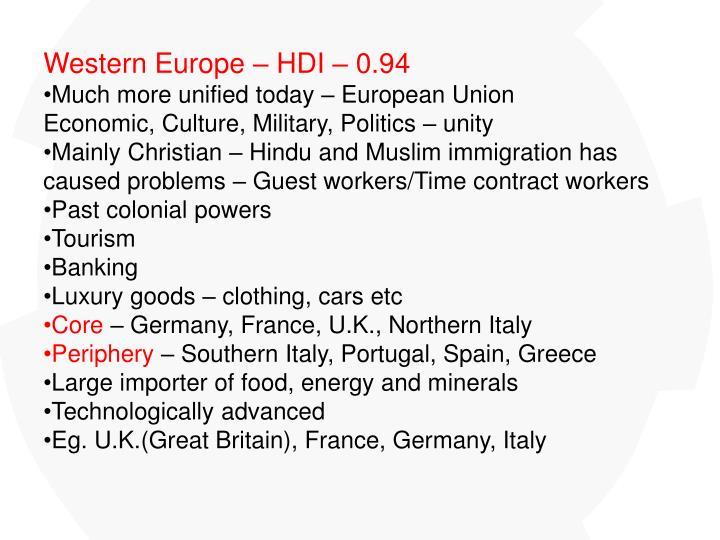 Western Europe – HDI – 0.94