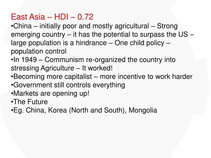 East Asia – HDI – 0.72