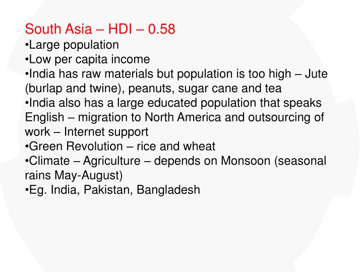 South Asia – HDI – 0.58