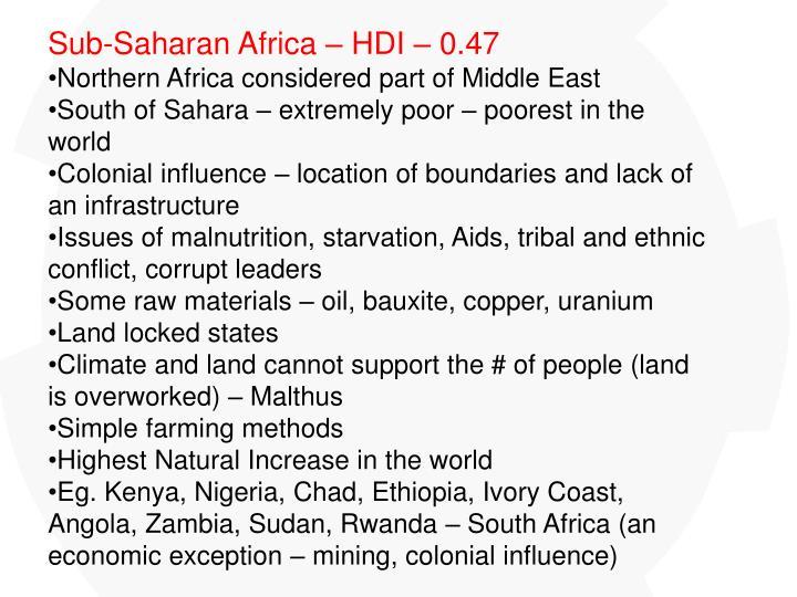 Sub-Saharan Africa – HDI – 0.47