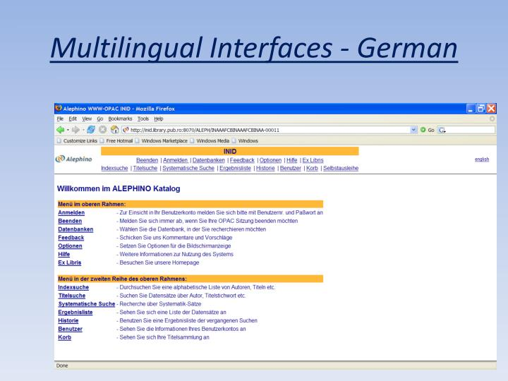 Multilingual Interfaces - German