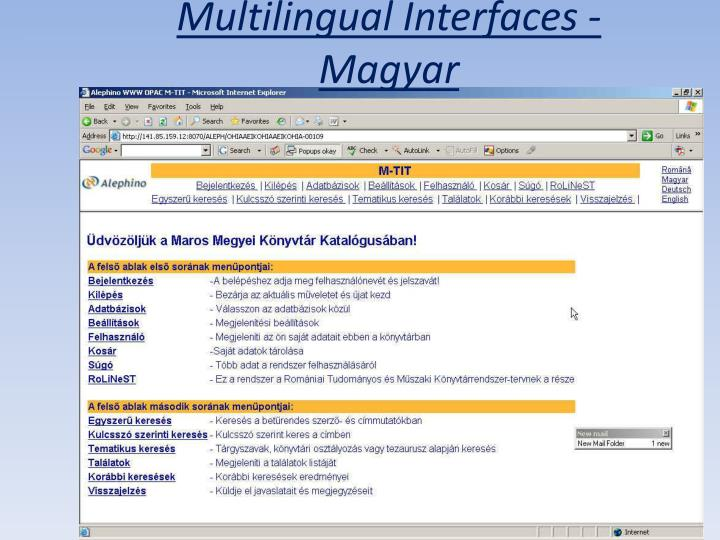 Multilingual Interfaces - Magyar