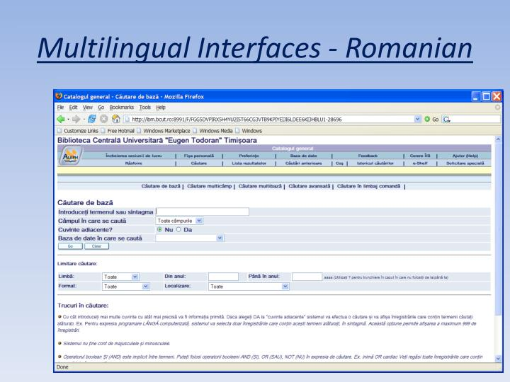 Multilingual Interfaces - Romanian