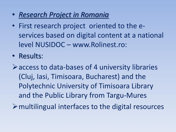 Research Project in Romania