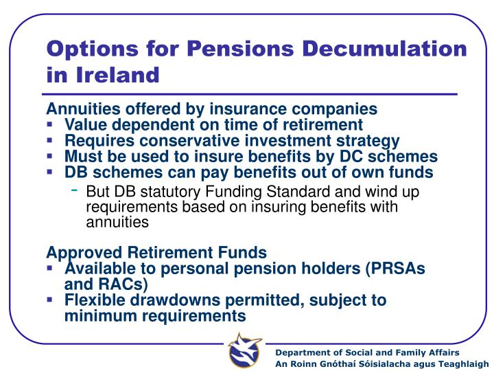 Options for Pensions Decumulation in Ireland