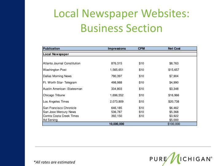 Local Newspaper Websites: