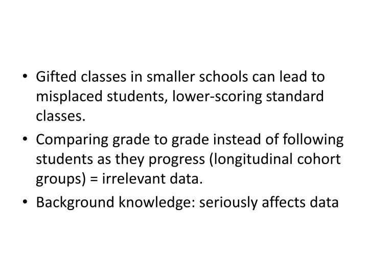 Gifted classes in smaller schools can lead to misplaced students, lower-scoring standard classes.