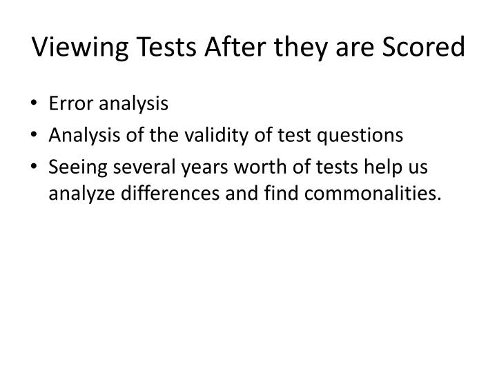 Viewing Tests After they are Scored