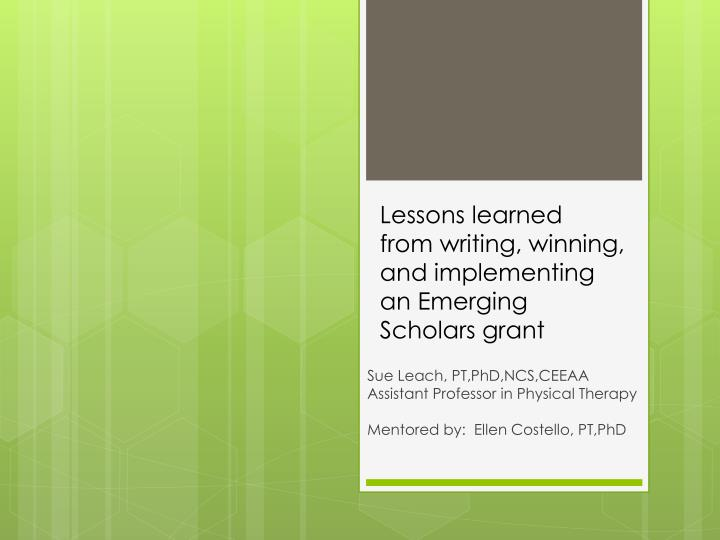 Lessons learned from writing winning and implementing an emerging scholars grant