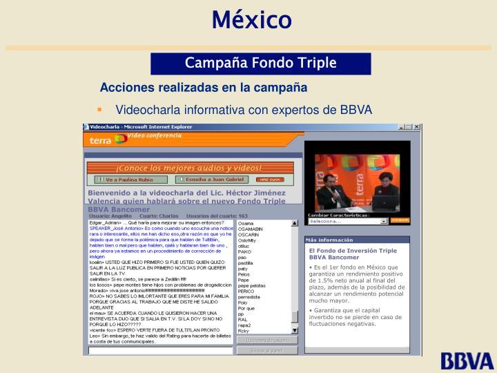 Bienvenido a la videocharla del Lic. Héctor Jiménez Valencia quien hablará sobre el nuevo Fondo Triple BBVA Bancomer