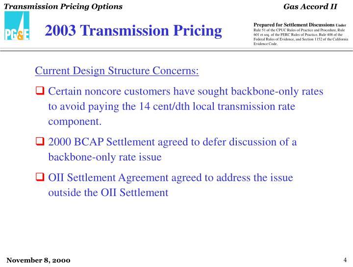 2003 Transmission Pricing