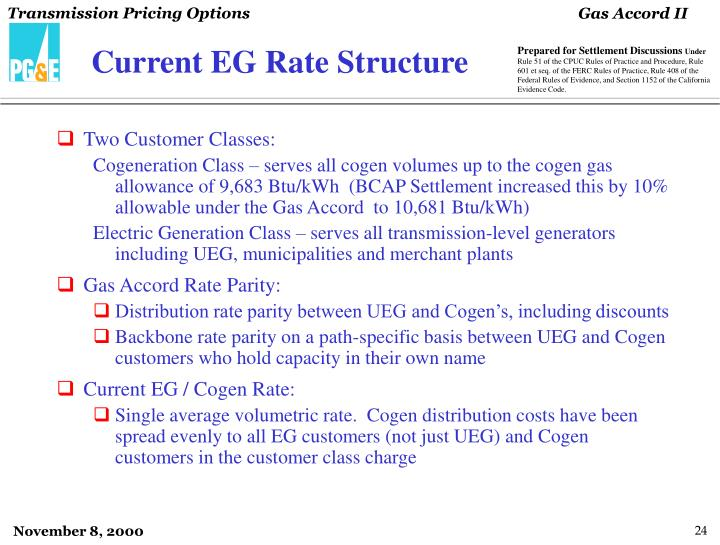 Current EG Rate Structure