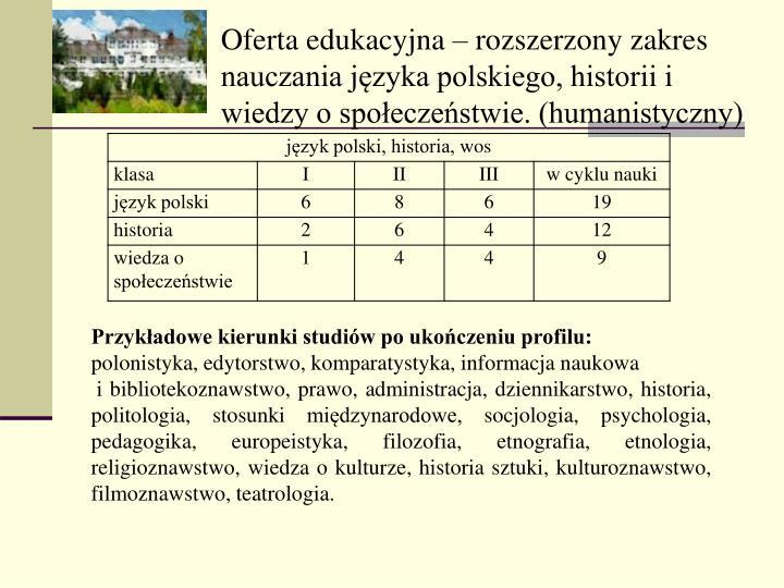 Oferta edukacyjna  rozszerzony zakres nauczania jzyka polskiego, historii i wiedzy o spoeczestwie. (humanistyczny)