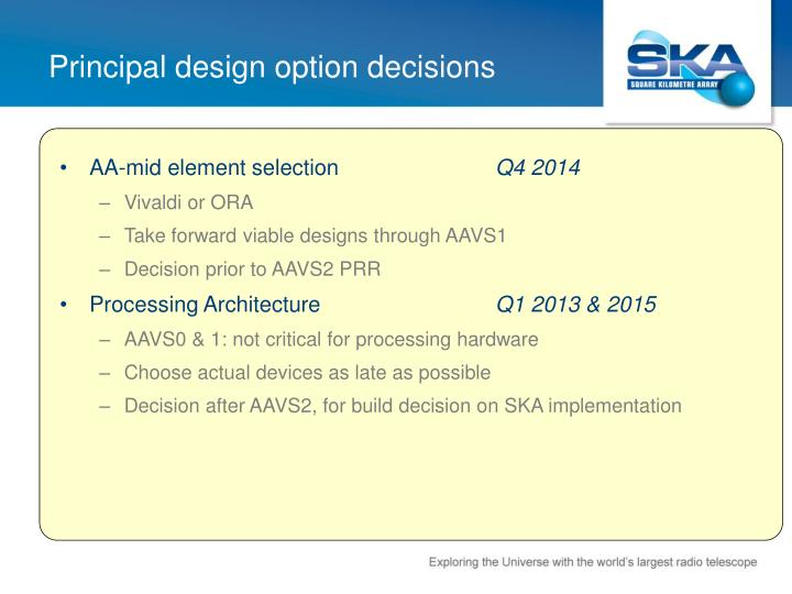 Principal design option decisions