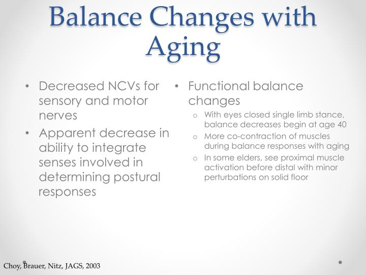 Balance Changes with Aging