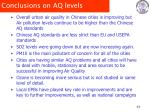 conclusions on aq levels