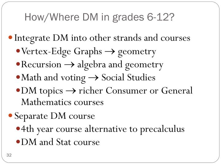 How/Where DM in grades 6-12?