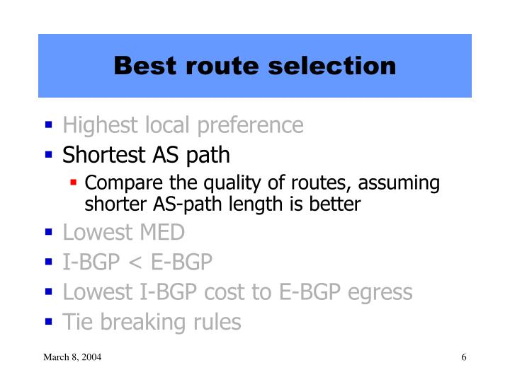 Best route selection