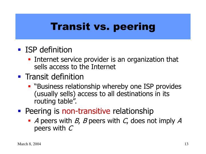Transit vs. peering