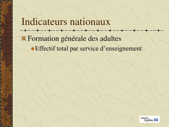 Indicateurs nationaux