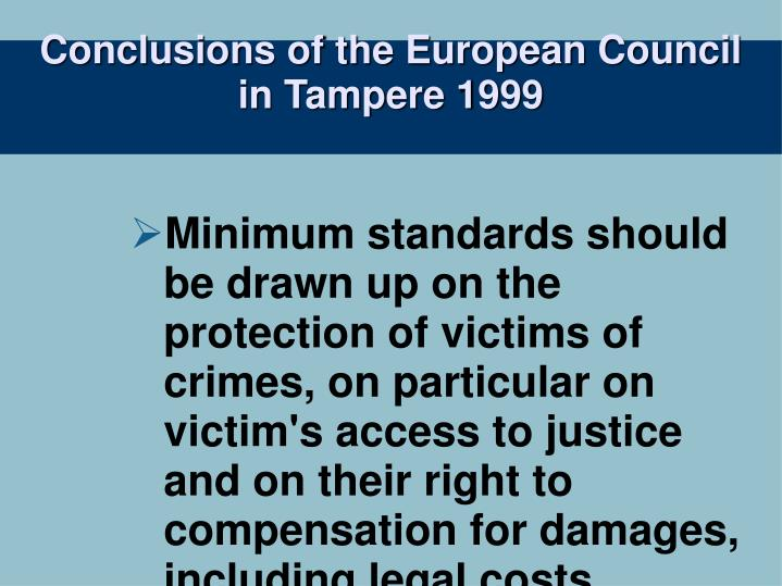 Conclusions of the european council in tampere 1999