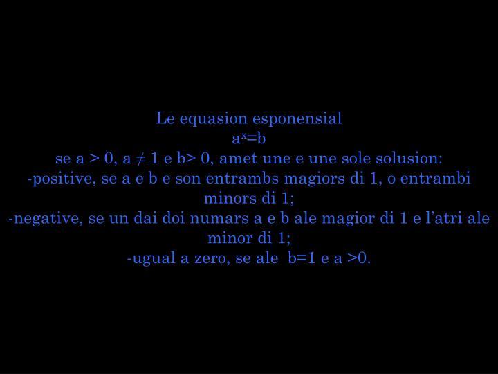 Le equasion esponensial