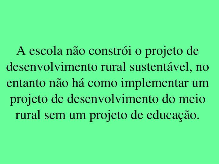 A escola não constrói o projeto de desenvolvimento rural sustentável, no entanto não há como implementar um projeto de desenvolvimento do meio rural sem um projeto de educação.