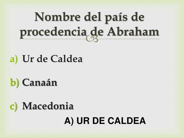 Nombre del país de procedencia de Abraham