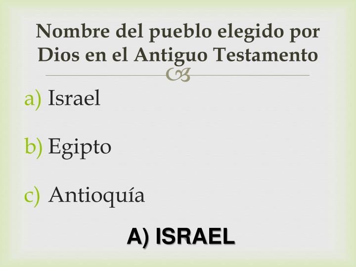 Nombre del pueblo elegido por Dios en el Antiguo Testamento