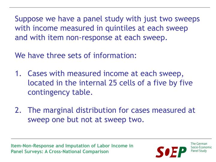 Suppose we have a panel study with just two sweeps