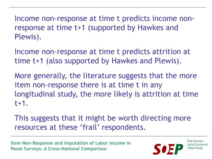 Income non-response at time t predicts income non-