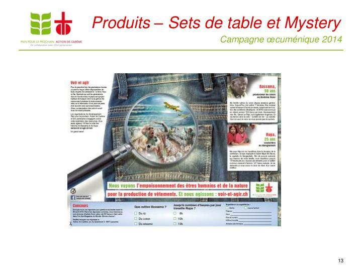 Produits – Sets de table et Mystery