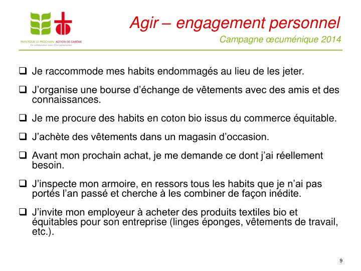 Agir – engagement personnel