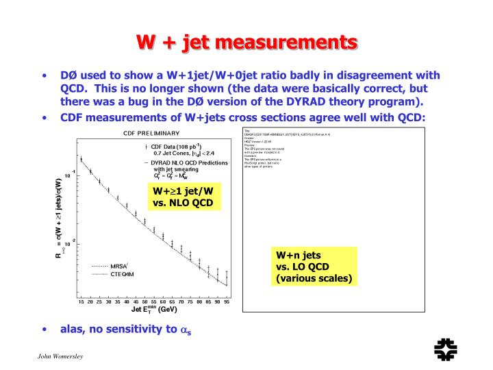 W + jet measurements