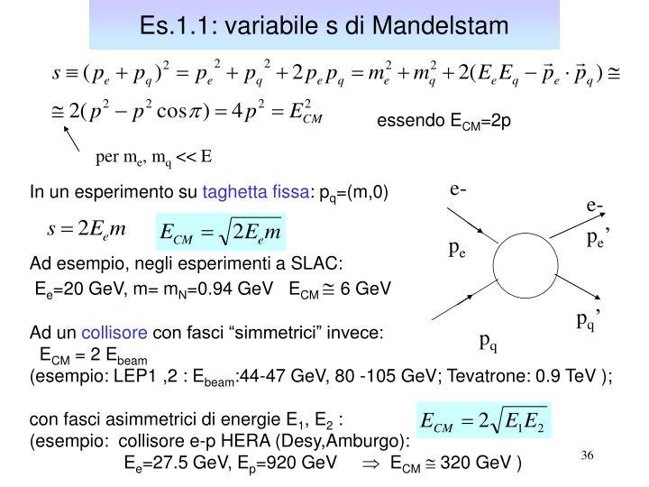 Es.1.1: variabile s di Mandelstam