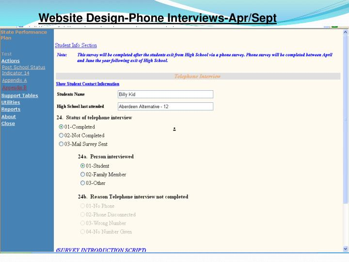 Website Design-Phone Interviews-Apr/Sept
