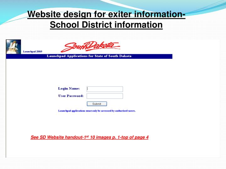 Website design for exiter information-School District information