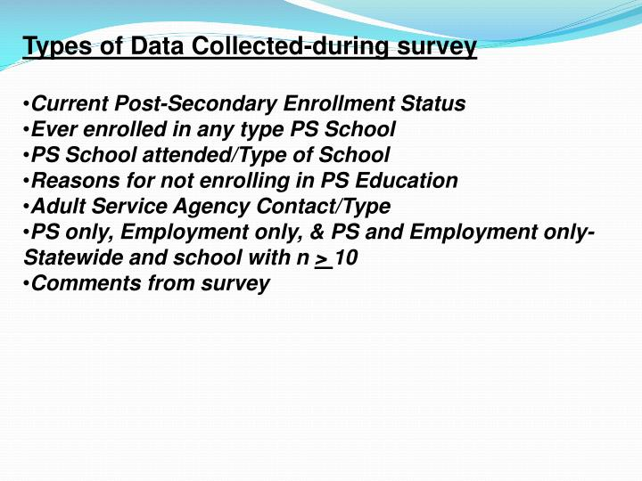 Types of Data Collected-during survey