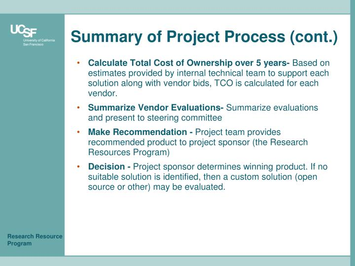 Summary of Project Process (cont.)