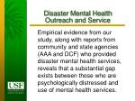 disaster mental health outreach and service