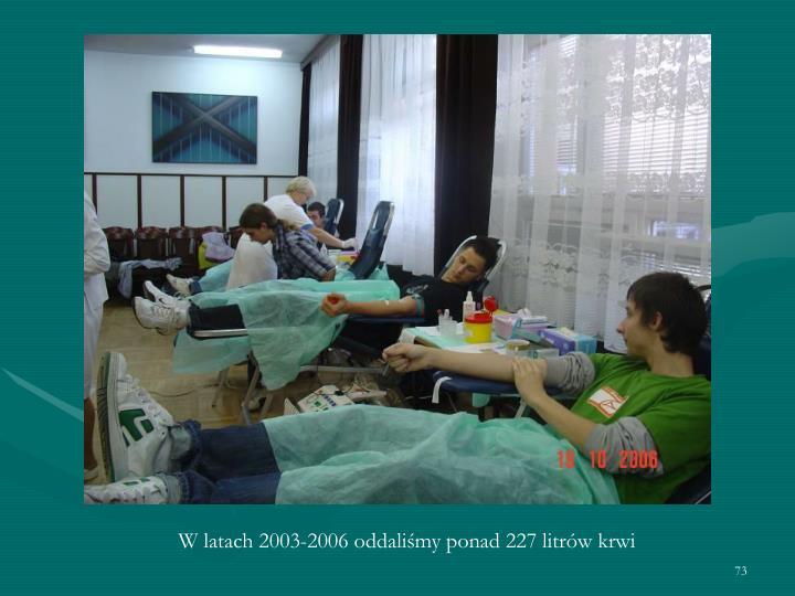 W latach 2003-2006 oddaliśmy ponad 227 litrów krwi
