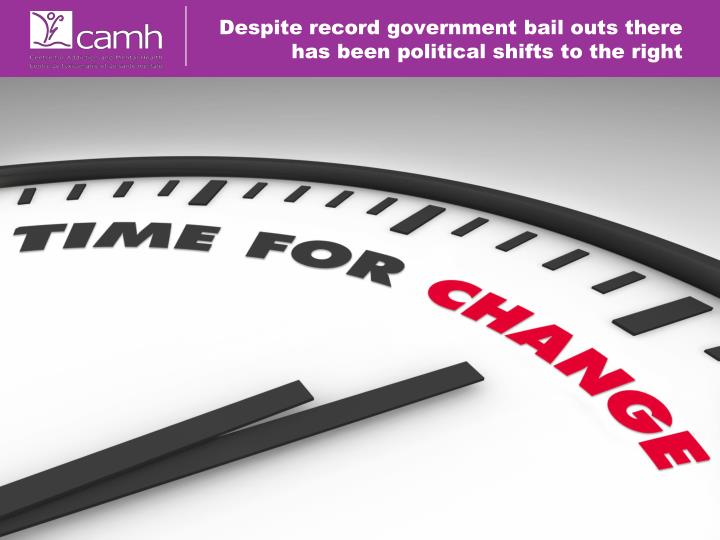 Despite record government bail outs there has been political shifts to the right