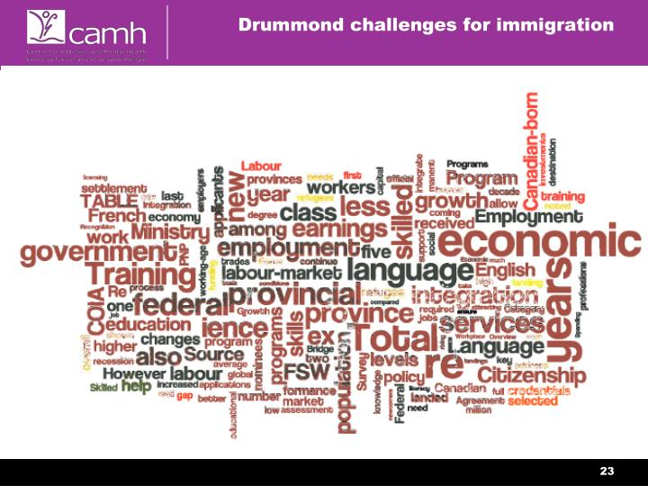 Drummond challenges for immigration