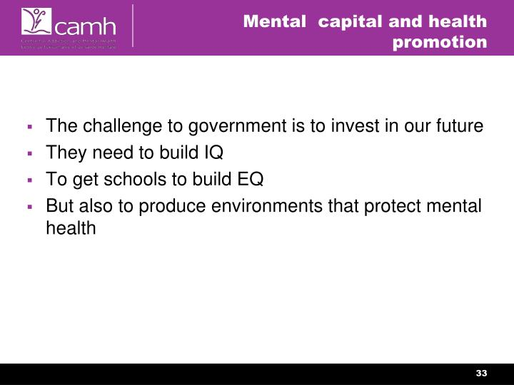 Mental  capital and health promotion