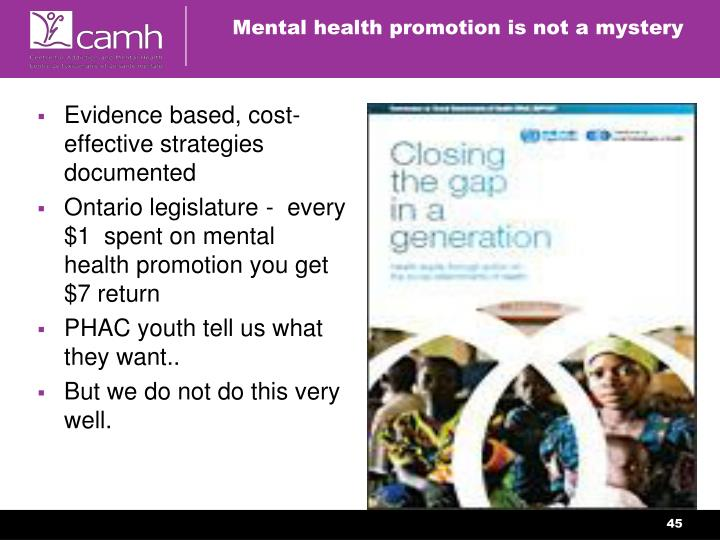 Mental health promotion is not a mystery