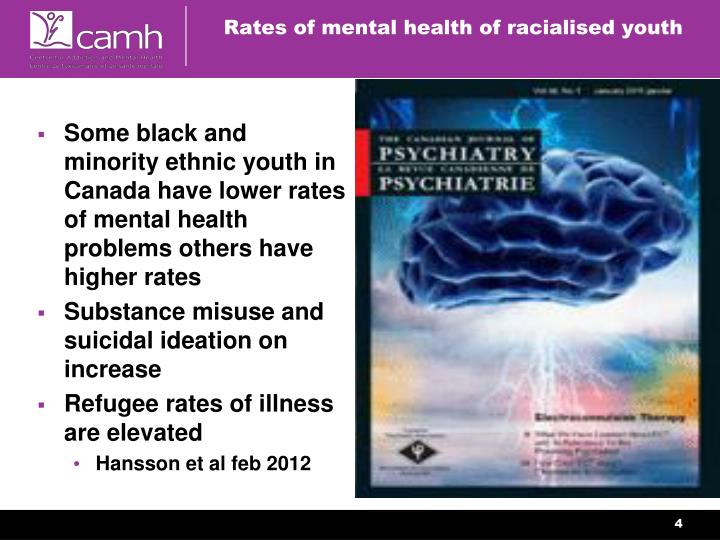 Some black and minority ethnic youth in Canada have lower rates of mental health problems others have higher rates
