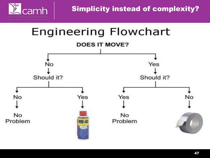 Simplicity instead of complexity?