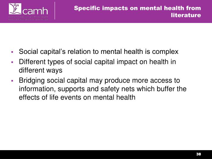 Specific impacts on mental health from literature